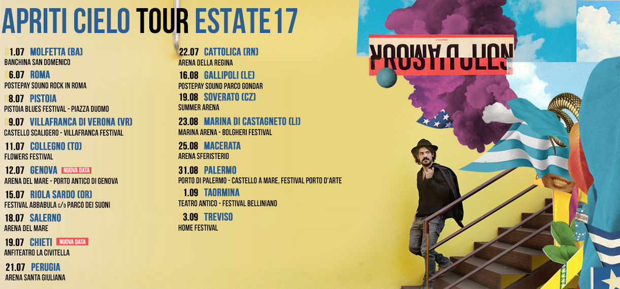 MANNARINO APRITI CIELO TOUR ESTATE 2017